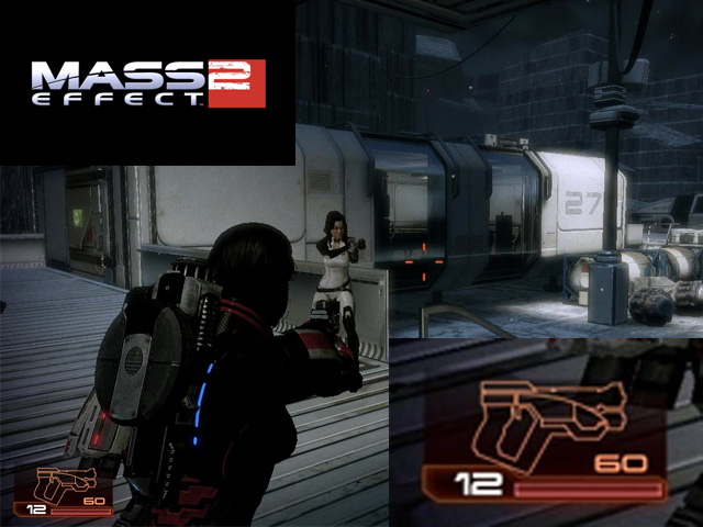 action shot of mass effect 2 highlighting the ammo clip system
