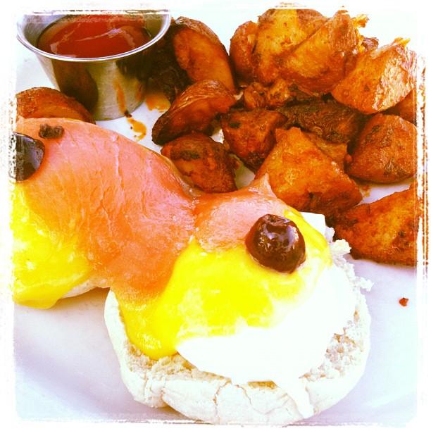 Amora Victoria Vegas Eggs Benedict, it is $9 and amazing.