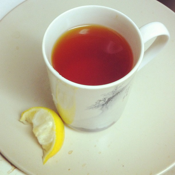 Cup of tea with lemon