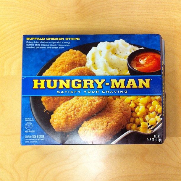 Hungry Man buffalo chicken in blue box photo