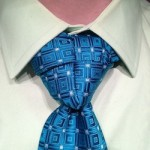 truelove knot on a patterned blue tie