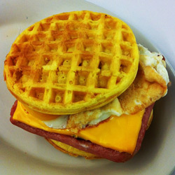 spam egg and cheese sandwich made with eggo waffles