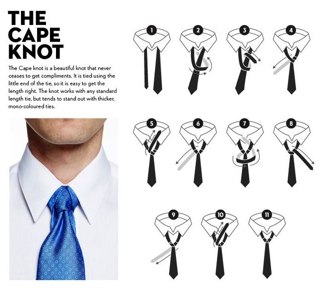 how to tie a cape necktie knot agreeordie. Black Bedroom Furniture Sets. Home Design Ideas