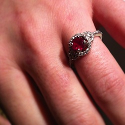 the ruby engagment ring on my fiancee's finger