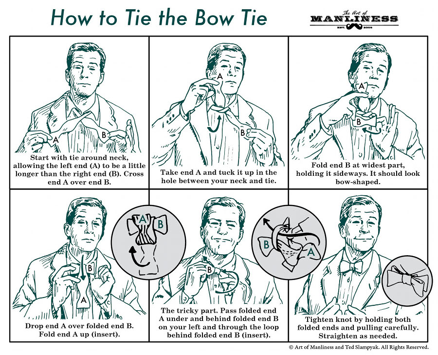 How to tie a bow tie diagram