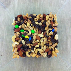 Square bowl of trail mix
