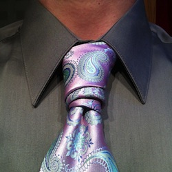 Instruction for tying a van wijk necktie knot