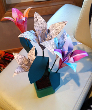 valentines day gift idea pot of origami flowers