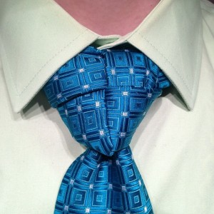 How to tie a merovingian or ediety necktie knot agreeordie truelove knot on a patterned blue tie ccuart Image collections