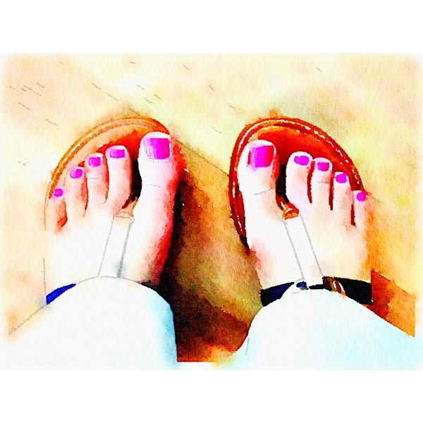 emily's pink pedicure