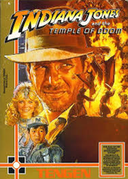 Indiana jones and supporting cast with image of a battle in a fiery room