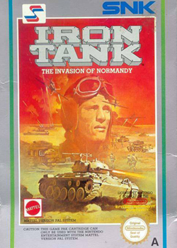 80s era image of a tank on a desert with the super imposed image of a soldiers had in the sky