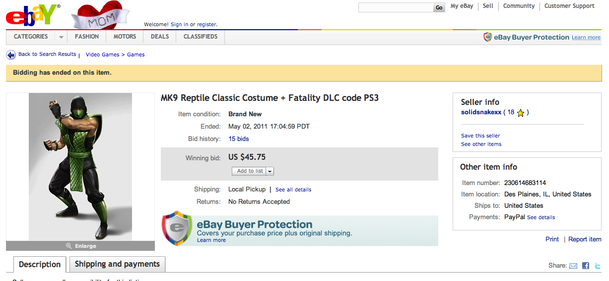 classic reptile costume ebay auction ending with $45