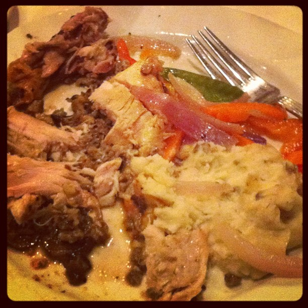 Half eaten cornish hen and mashed potatoes from the Fluin wedding of 11-11-11.