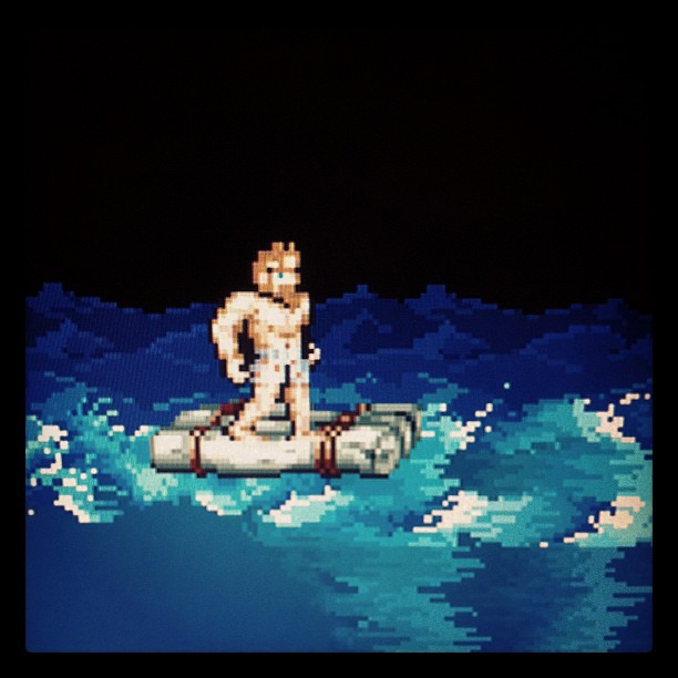 Arthur from the SNES game Super Ghouls and Ghosts in his underwear on a raft.