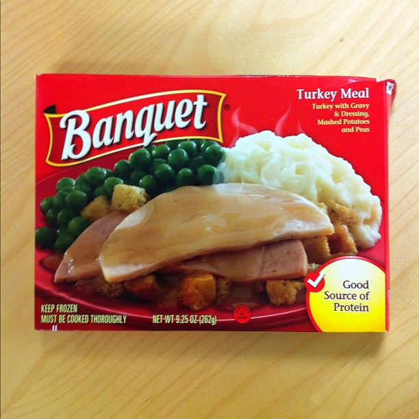 Frozen dinner package.