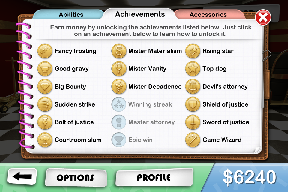 Devil's Attorney all achievments unlocked except for beating the game on normal. Because I skipped right to hard.