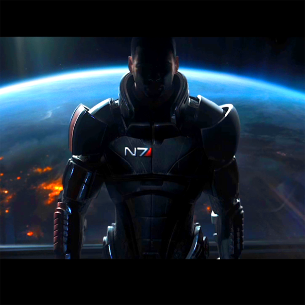 ME3 Commander Shepard preparing for a mission looking into space