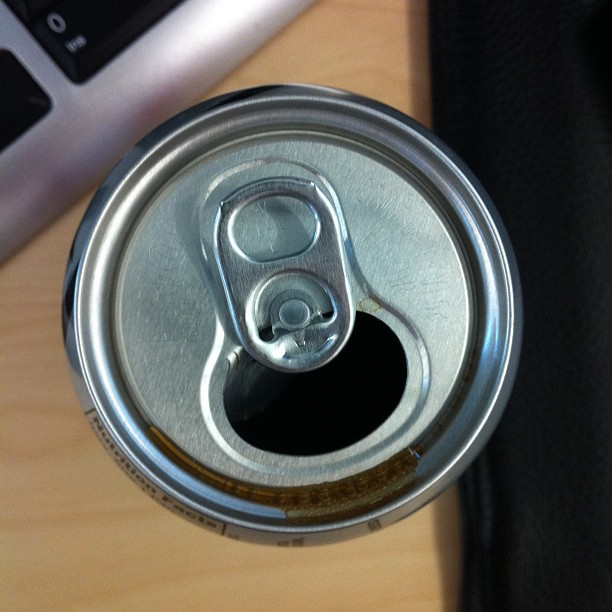 Open can of diet coke from the top down