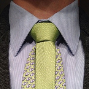 Murrell knot on a patterned blue tie