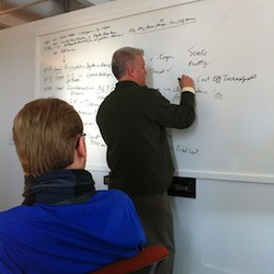 James is making notes on a white board while the rest of the marketing team watches