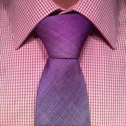 pruple tie on a pink pattern shirt