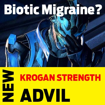 real product placement in mass effect mock up for Krogan Strength Advil to cure biotic migraines