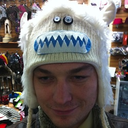 Me wearing a funny white fuzzy yeti hat