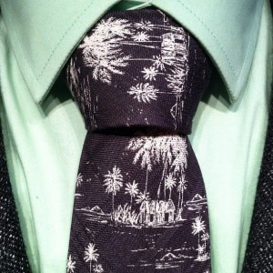 full windsor tie on a black and white tie with palm trees