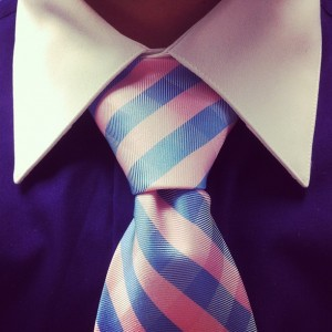full windsor on a pink/purple tie over a dark purple shirt