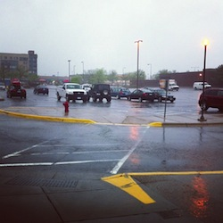 parking lot on a rainy evening